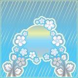 Fundo listrado azul com ornamento da flor Fotos de Stock