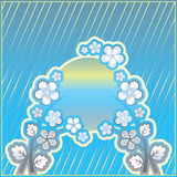 Fundo listrado azul com ornamento da flor Imagens de Stock Royalty Free
