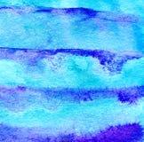 Fundo listrado pintado à mão da aquarela azul Cores brilhantes ilustração stock