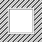Fundo listrado preto e branco com quadro ilustração stock