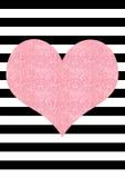 Fundo listrado preto e branco do coração cor-de-rosa do efeito do brilho ilustração royalty free