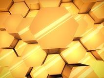 Fundo lustroso alaranjado abstrato dos hexágonos 3D Foto de Stock