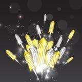 Fundo luxuoso do ano novo com fogos-de-artifício Fotografia de Stock Royalty Free