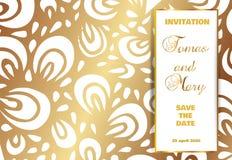 Fundo luxuoso do casamento do vintage com teste padrão e texto do ouro ilustração stock