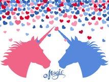 Fundo mágico com corações de queda e dois unicórnios no amor ilustração do vetor