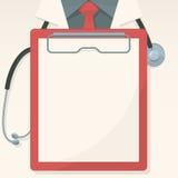 Fundo médico com placa e o estetoscópio gravados Imagens de Stock