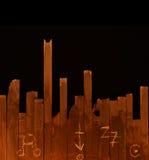 Fundo místico com sinais místicos em pranchas de madeira Foto de Stock Royalty Free