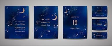 Fundo místico do céu noturno com meia lua e estrelas Convite da noite do luar do casamento e para salvar o cartão de data ilustração royalty free