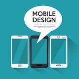fundo móvel do azul do bate-papo da bolha do projeto do smartphone da coleção Foto de Stock Royalty Free