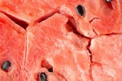 Fundo macro da textura do close up maduro da carne da melancia Imagem de Stock Royalty Free