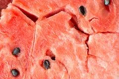 Fundo macro da textura do close up maduro da carne da melancia Fotografia de Stock