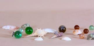 Fundo marinho com shell e pedras foto de stock royalty free