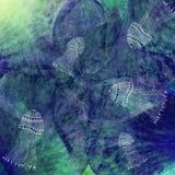 Fundo marinho do batik do grunge da arte Cores pastel do Stylization, aquarelas Contexto textured vintage com jellifish ilustração do vetor