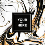 fundo marmoreando abstrato Preto-dourado-branco para o convite Imagem de Stock