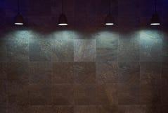 Fundo marrom vazio da parede da telha com lâmpadas fotos de stock royalty free