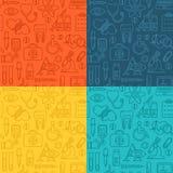 Fundo médico sem emenda com linha ícones do estilo no branco A medicina e a saúde projetam o teste padrão com símbolos lineares m Foto de Stock