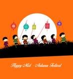 Fundo meados de Autumn Festival com as crianças que jogam lanternas ilustração royalty free