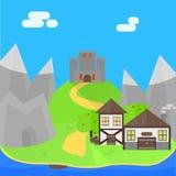 Fundo medieval dos desenhos animados Fotografia de Stock Royalty Free
