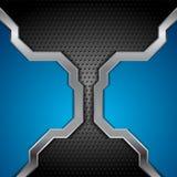 Fundo metálico azul e perfurado brilhante da tecnologia Imagem de Stock