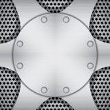 Fundo metálico com placas e parafusos Imagem de Stock