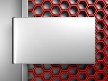 Fundo metálico da elegância com teste padrão vermelho do hexágono ilustração do vetor