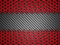 Fundo metálico vermelho do teste padrão do hexágono ilustração stock