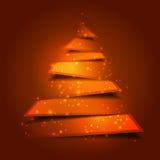 Fundo moderno da árvore de Natal com luzes santamente Fotos de Stock