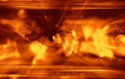 Fundo moderno da tecnologia - laranja Fotos de Stock
