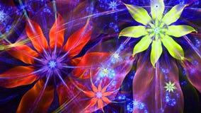 Fundo moderno vívido brilhante bonito da flor no brilho vermelho, cores cor-de-rosa, amarelas, roxas Imagens de Stock