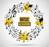 Fundo musical abstrato com notas Foto de Stock Royalty Free