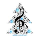 Fundo musical com a árvore de Natal das notas e dos flocos de neve ilustração do vetor