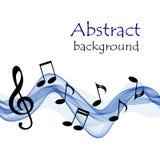 Fundo musical com notas e clave de sol em uma pauta musical azul abstrata Imagem de Stock Royalty Free
