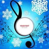 Fundo musical do inverno com flocos de neve ilustração do vetor