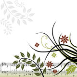 Fundo musical floral ilustração do vetor