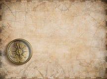 Fundo náutico velho do mapa com compasso ilustração royalty free