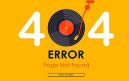 fundo não encontrado do gráfico da música do vinil do vetor da página de 404 erros Imagens de Stock