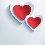Fundo na moda com vermelho - corações cinzentos do papel 3d Fotos de Stock Royalty Free
