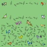 Fundo natural agradável dos pássaros e das folhas Fotos de Stock