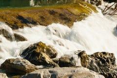 Fundo natural da água de fluxo no rio dourado imagem de stock