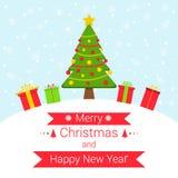 Fundo nevado do inverno com elementos do Natal ilustração royalty free