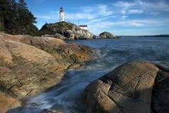 Fundo noroeste pacífico da paisagem do oceano do céu do farol de Vancôver Fotografia de Stock Royalty Free