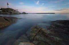 Fundo noroeste pacífico da paisagem do oceano do céu do farol de Vancôver Imagens de Stock
