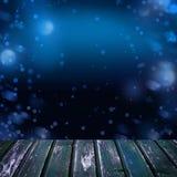 Fundo noturno com a tabela de madeira vazia da plataforma com Bokeh Imagens de Stock