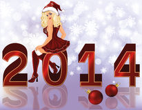 Fundo novo de 2014 anos com a menina 'sexy' de Santa Foto de Stock Royalty Free