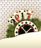Fundo novo do casino de 2017 anos com elementos do pôquer Fotografia de Stock Royalty Free