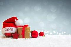Fundo novo feliz de 2018 anos com chapéu de Santa Claus Fotos de Stock