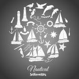 Fundo náutico com navios Foto de Stock