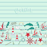 Fundo náutico com navios Foto de Stock Royalty Free
