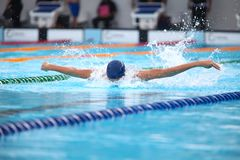 Fundo obscuro da água da gota do respingo na raça da natação com swi Imagem de Stock Royalty Free