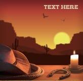 Fundo ocidental com chapéu e corda de vaqueiro Fotos de Stock Royalty Free